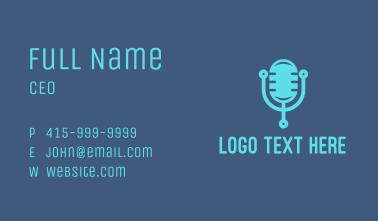 Blue Tech Mic Business Card