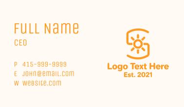 Orange Sunlight Letter S Business Card