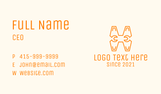 Monoline Letter H Wrench  Business Card