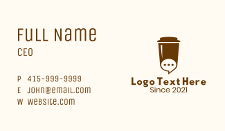 Coffee Cup Chat Business Card