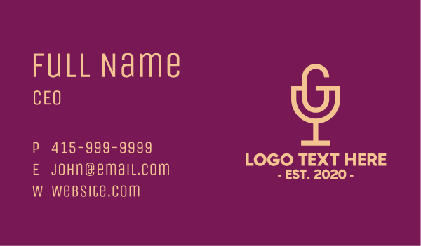 brandy - Wine Glass Letter G Podcast Business card horizontal design