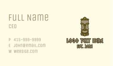 Traditional Tiki Statue Business Card