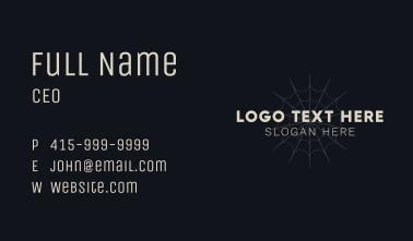 Simple Spiderweb Halloween Wordmark Business Card