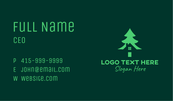 park - Green Pine Tree House Business card horizontal design