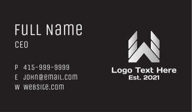 Silver Letter W Business Card