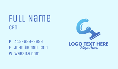 Blue Cleaning Squeegee Business Card