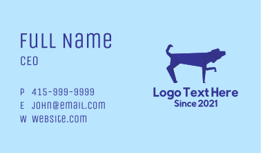 Blue Dog Origami Business Card