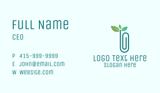 Eco Friendly Paper Clip Business Card