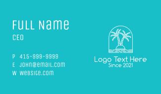 Coconut Tree Summer Island  Business Card