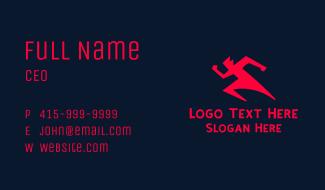 Red Running Man Business Card