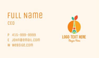 Orange Fruit Eiffel Tower Business Card