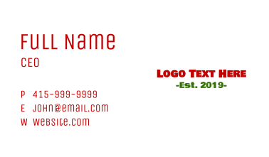 Friendly  & Bold Business Card