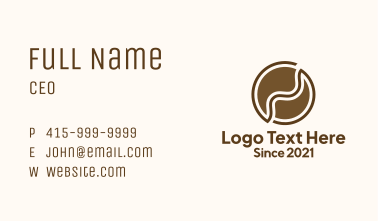 Brown Abstract Coffee Bean Business Card