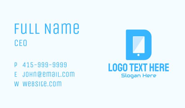 messaging - Mobile Device Letter D  Business card horizontal design