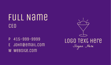 Yellow Cocktail Bulb Business Card