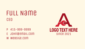 Letter A Wrench  Business Card