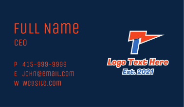 Sports Flag  Letter T Business Card