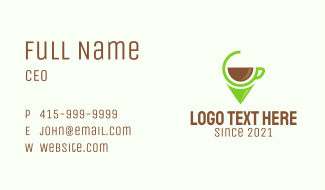 Coffee Shop Pin Location  Business Card