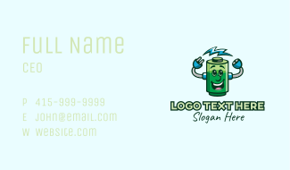 Battery Charge Mascot Business Card