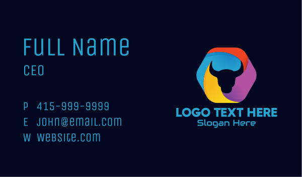 Colorful Bull Business Card