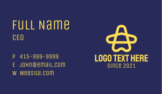 Yellow Star Airplane Business Card