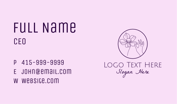 petal - Purple Flower Hand  Business card horizontal design