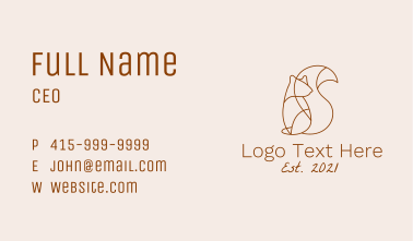 Minimalist Chipmunk Business Card