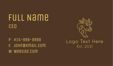 Minimalist Cowhead Profile Business Card