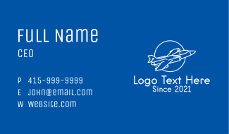 White Jet Aircraft Business Card