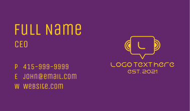 Yellow Chat Icon Letter Business Card