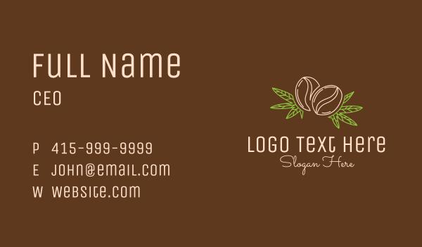 coffee bar - Coffee Bean Weed Leaf Business card horizontal design