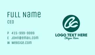 Green Cursive Letter A Business Card