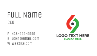 Minimalist Number 69 Business Card