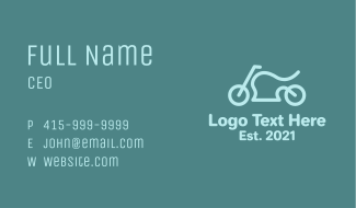 Blue Minimalist Motorcycle  Business Card