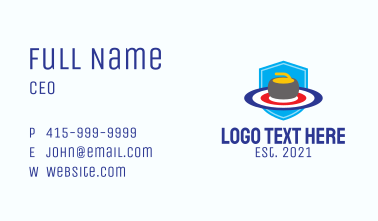 Ice Curling Shield Business Card