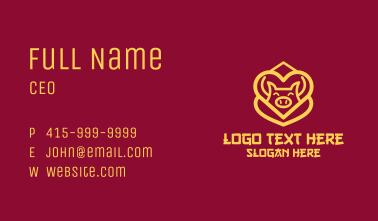 Golden Asian Pig Business Card