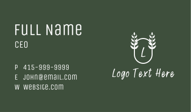 Leafy Oval Letter Business Card