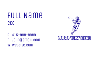 Blue Lacrosse Player Business Card