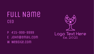 Spoon Fork Wine Glass Business Card
