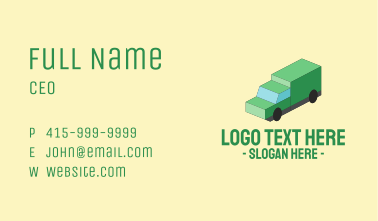 Isometric Delivery Truck Business Card