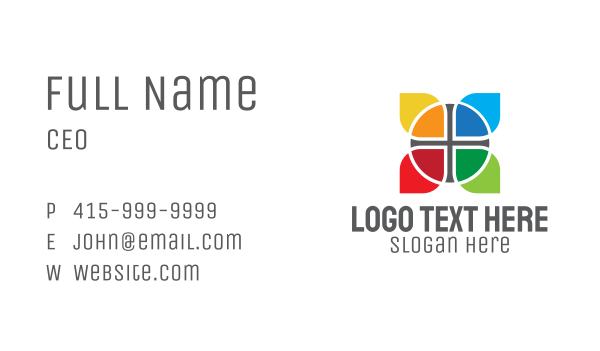 fabric - Multicolor Cross Lettermark Business card horizontal design