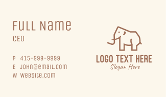 Brown Mammoth Elephant Business Card