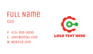 Red Gear Letter C Business Card