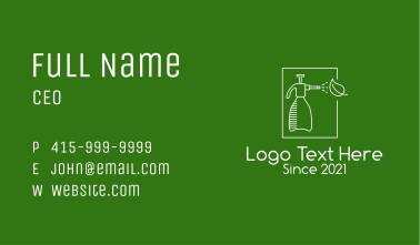 White Watering Bottle  Business Card