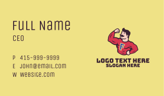 Muscle Man Letter F Business Card