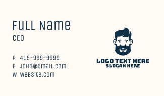Blue Man Beard Grooming Business Card