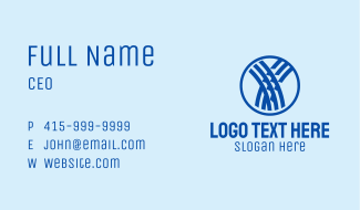 Blue Woven Letter Y  Business Card