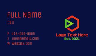 Hexagon Play Button Business Card