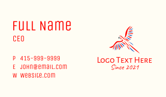 Wild Flying Parrot Business Card