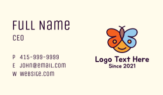 Child Butterfly Business Card